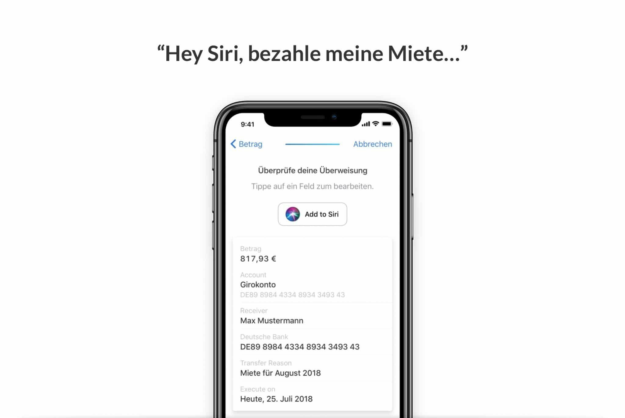 Geld überweisen Siri Shortcut Outbank