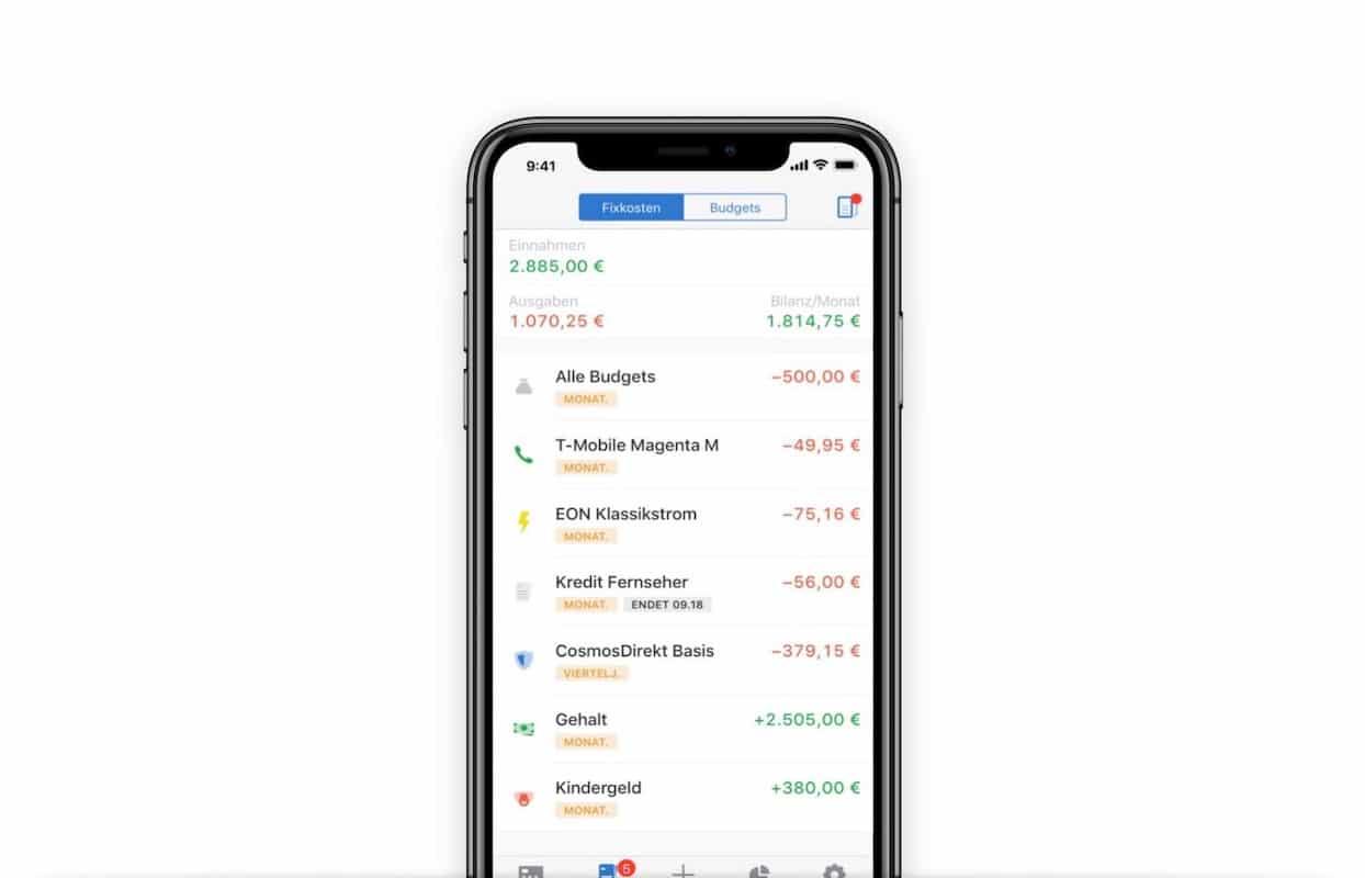 Fixkostenübersicht App Outbakn
