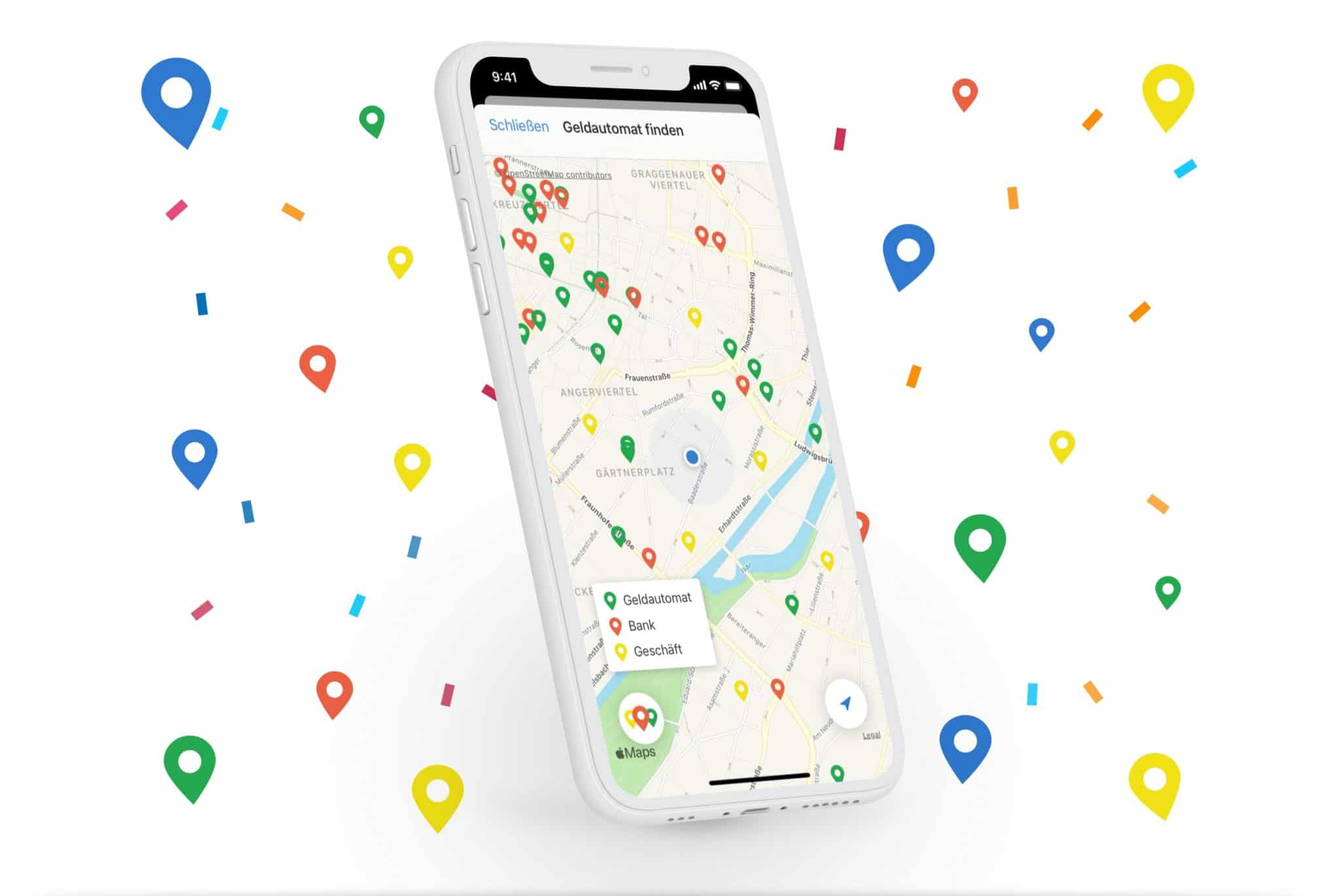 Geldautomatensuche: ATM per App Karte finden